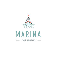 marina steering wheel logo template vector image