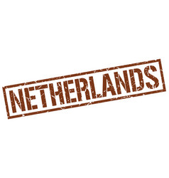 Netherlands brown square stamp vector