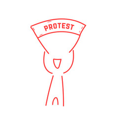 Red thin line man holding protest banner vector