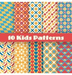 Retro kids seamless patterns endless vector