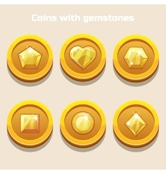 Set of different cartoon coins with gemstones vector image vector image