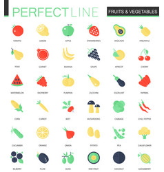 set of flat fruits and vegetables icons vector image vector image