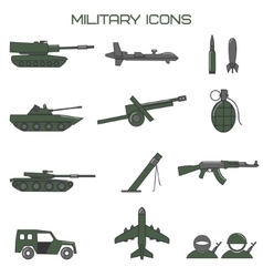 Set of military icons tank fighting machine vector image vector image