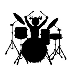 Silhouette girl music plays the drums vector