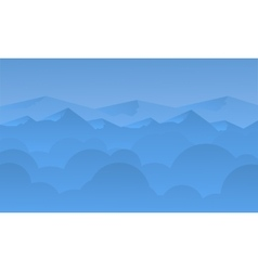 Silhouette of blue mountain and sky landscape vector image vector image