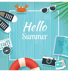 Summer traveling template with wooden background vector image vector image