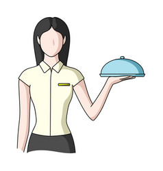 the waitressprofessions single icon in cartoon vector image