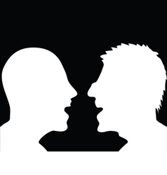 Two people arguing silhouette vector
