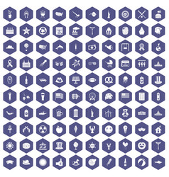 100 summer holidays icons hexagon purple vector