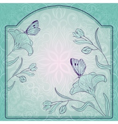 frame ornate with flowers and butterfly vector image