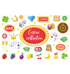 Casino collection gambling set isolated on a vector
