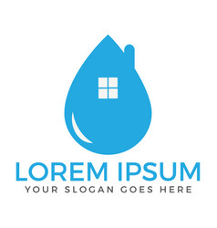 Blue water drop home logo design vector