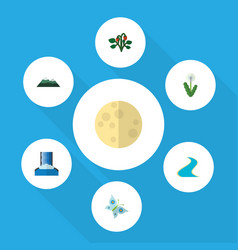 Flat icon ecology set of berry monarch lunar and vector