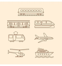 Transportation icons of tram subway train airplane vector