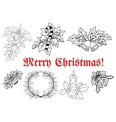 Outline of christmas decorations set vector