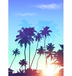 Blue sunrise palms silhouettes poster background vector