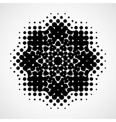 Halftone snowflake Abstract black and white design vector image