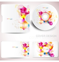 Floral cd disc cover template vector