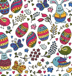 Hand sketched happy easter text with easter vector