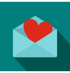 Blue envelope with red heart icon flat style vector