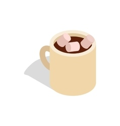 Hot chocolate with marshmallows in cup icon vector image