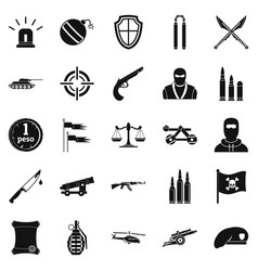 armature icons set simple style vector image