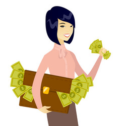 Asian business woman with briefcase full of money vector