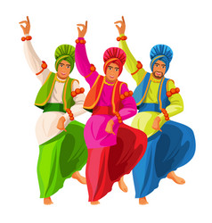 Bhangra dancers in national cloth vector