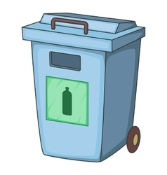 Blue bin garbage container for plastic waste icon vector