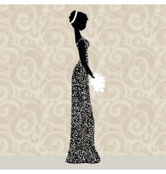 Bride in glittering dress vector