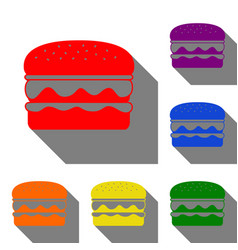 burger simple sign set of red orange yellow vector image vector image