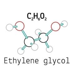 C2H6O2 ethylene glycol molecule vector image