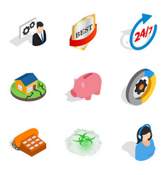 Call center icons set isometric style vector