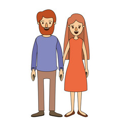 color image caricature full body couple woman with vector image vector image