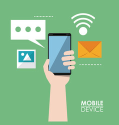 Colorful poster of mobile devices with hands vector