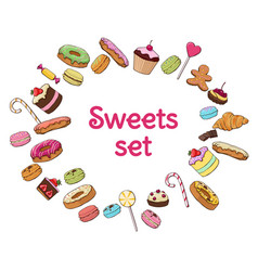 Colorful sweet products set vector