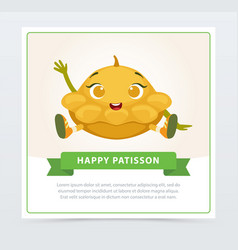 Cute humanized squash vegetable character waving vector
