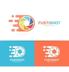 Fast camera shutter logo combination speed vector