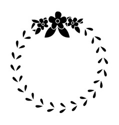 floral crown wreath emblem decoration pictogram vector image