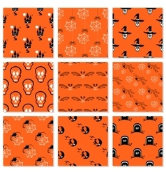 Halloween Collection Seamless Patterns vector image vector image