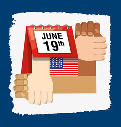 Hands together with calendar and flag celebrating vector