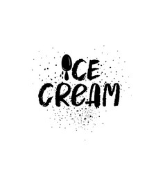 Ice cream graphic brush lettering vector
