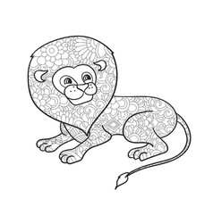 lion coloring for adults animal vector image