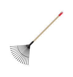 metal rake with wooden handle garden accessories vector image vector image