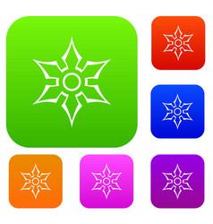 ninja shuriken star weapon set color collection vector image vector image