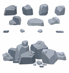 Rocks stones collection different boulders in vector