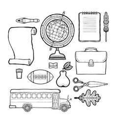 School drawn set isolated on white background vector image vector image