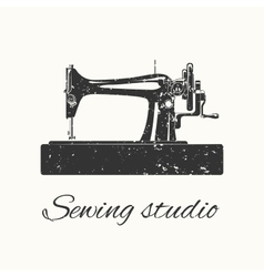 sewing studio emblem vector image vector image
