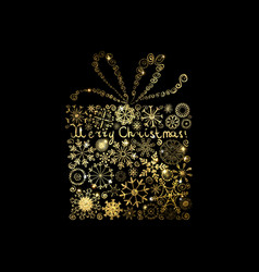 Shining gold texture gift on the black vector