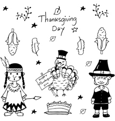 Sketch doodle Thanksgiving icon set vector image
